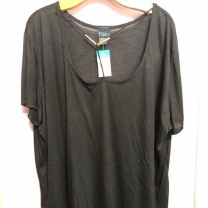 NWT Plus Black Scoop Neck Top